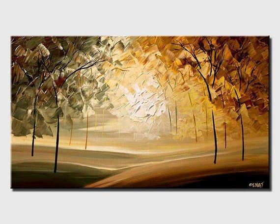 Paisaje Blooming Trees Pintura De Paisaje Original En Acrilico Sobre Lienzo Por Osnat Made To Order Pinturas Pinturas De Paisajes Cuadros Modernos