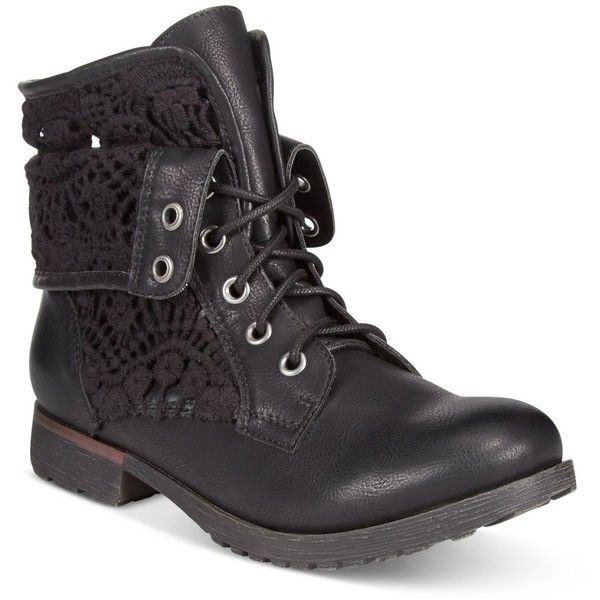Rock & Candy Spraypaint Cuffed Lace Combat Booties ($69) ❤ liked on Polyvore featuring shoes, boots, ankle booties, black crochet, combat booties, black lace-up boots, black booties, black boots and army boots