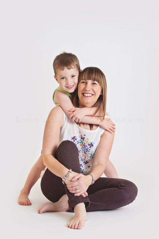 Mum and Son posing in studio Robyn McGufficke Photography