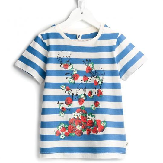 Stella Mccartney Kids 'Arlo' Striped T-shirt ll Super soft cotton t-shirt in blue and white stripes featuring a fruity print design, short sleeves and crew neck. 100% Cotton ll We are little moppets! http://www.littlemoppets.co.uk/ is an online shopping portal for designer baby and kids clothes! Find all the kidswear brands you love all in one place! Enjoy! #KidsFashion #KidsWear #Designer #Fashion #Style #OOTD #Summertime #StellaMccartney