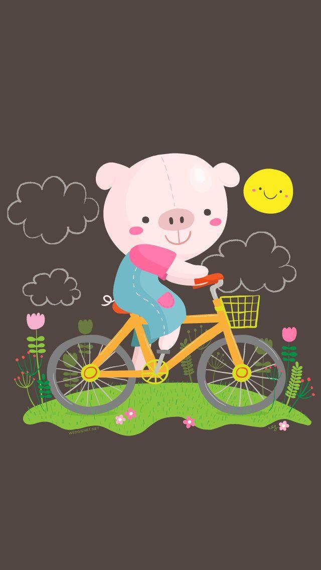 Kawaii Piggy Bicycle iPhone Wallpaper @PanPins