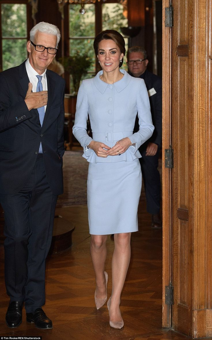 The Duchess arrives at the British ambassador's residence in The Netherlands...