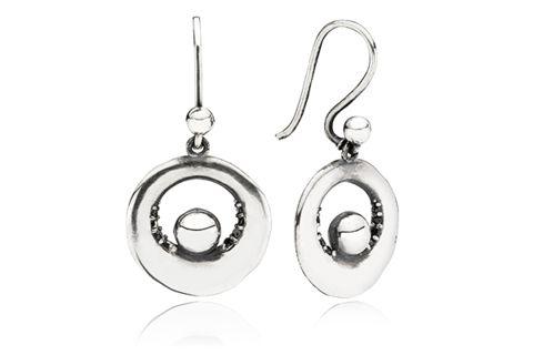 Earhook Hope Oxidised Sterling Silver w. semi-precious stones