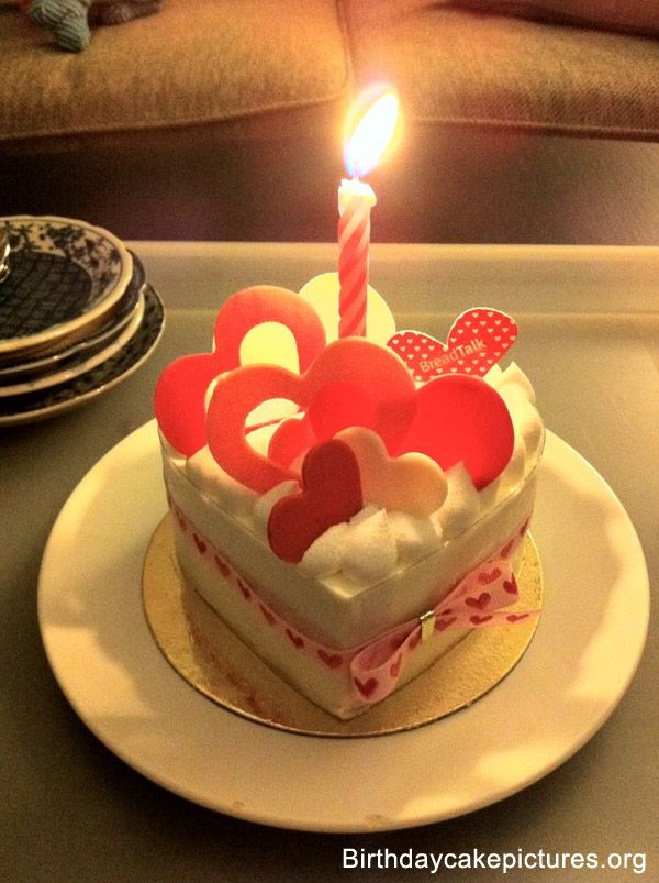 Birthday Cake Love With Candle Birthday Cake Pinterest