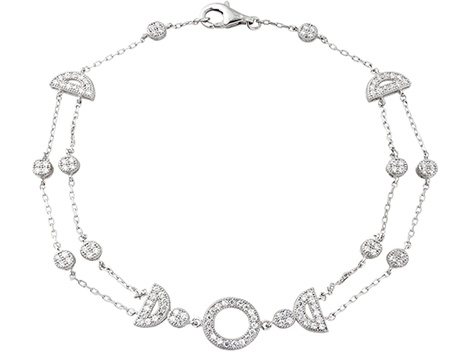 €69 White stone-set antique sterling silver double chain bracelet. A touch of vintage class