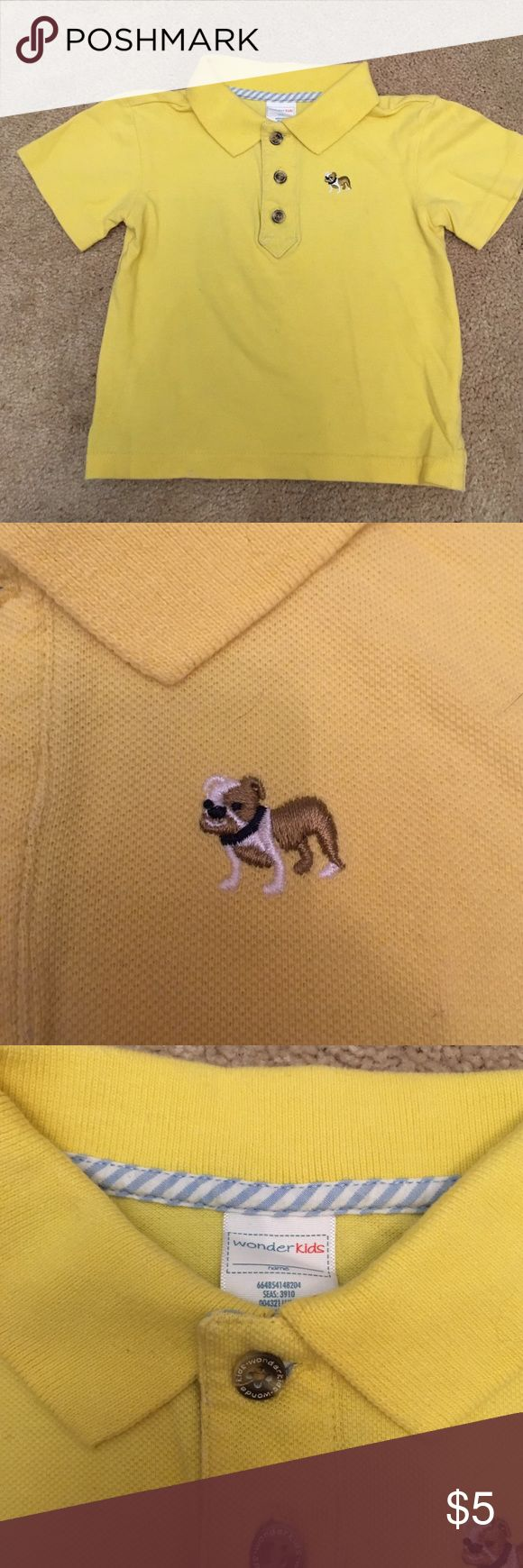 Yellow Polo Shirt Great spring time polo shirt. Embroidered bulldog on the chest. Gently worn. Shirts & Tops Polos