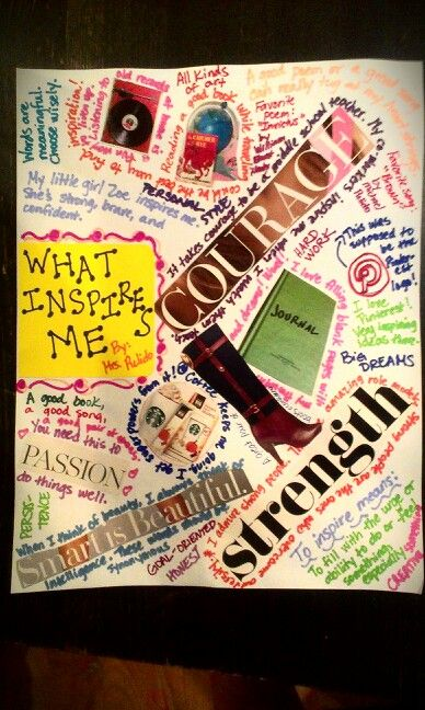 Create an INSPIRATION collage and use colored Sharpies to write around the objects that inspire you. A great alternative to the Heart Map for middle school and high school.