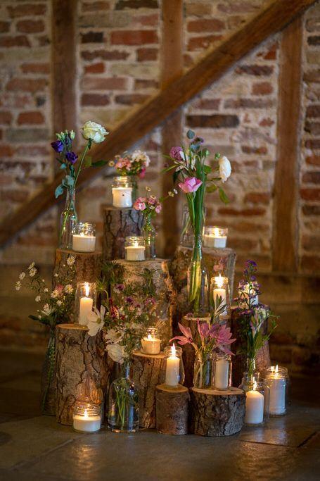 Wood log flowers candles display