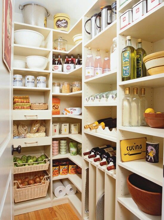 Small walk in pantry-love the baskets for fruit