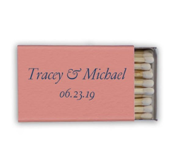 Custom Matchbox Wedding Send Off Personalized Matches Wedding Favors for Guests Cigar Bar set of 50    Wedding Matches
