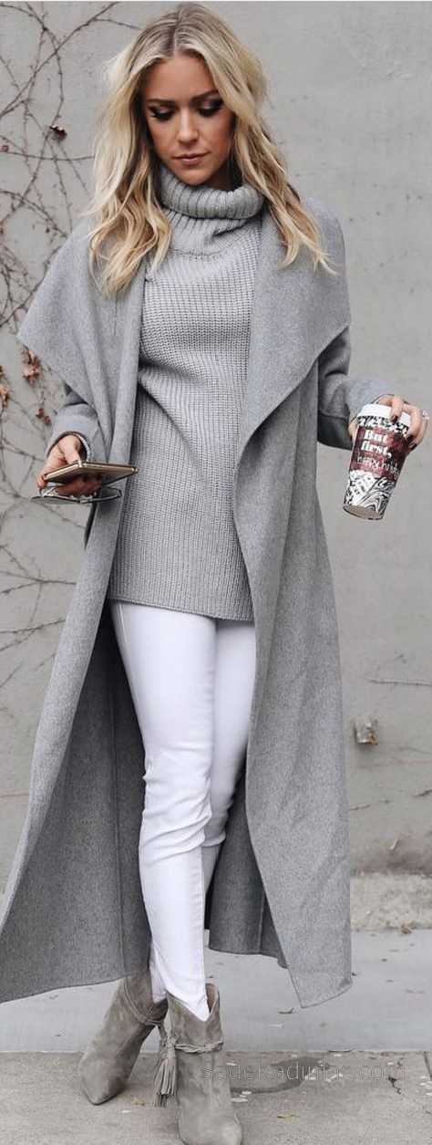 2018-2019 Autumn Winter Combinations White Pants Gray Pullover Gray Wide Lapel Coats Nubuck Shoes