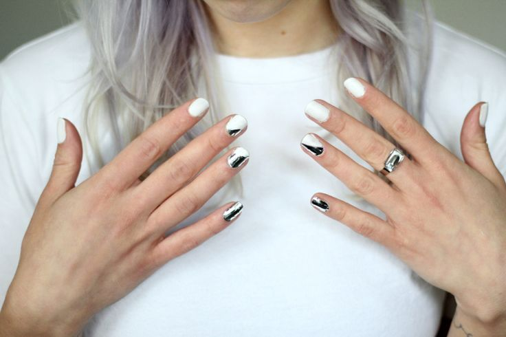 Metallic + White Nails