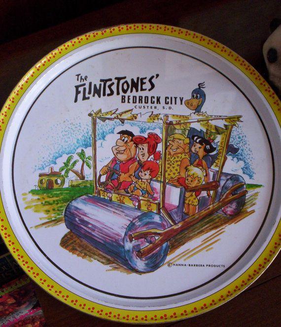 Tin des Flintstones Vintage servant de plateau - Souvenir de Bedrock City, South Dakota - souvenirs - divertissement - Patio - barbecue