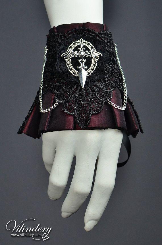 Beautiful Gothic Victorian Cuff Bracelet with bat wings, Lolita Vampire Style, Dark Fashion, Elegant Goth Wedding Jewelry, Red Accessories https://www.etsy.com/shop/Vilindery
