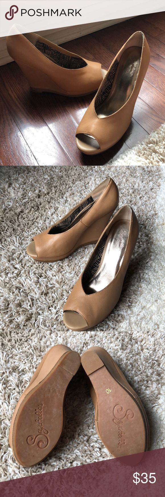 Seychelles Nude Wedge Super comfy Wedge peep toe in Excellent Used a Condition - small scuff on the back right shoe  (see picture)  No toe scuffs and soles in great condition. Worn just a handful of times. Seychelles Shoes Wedges