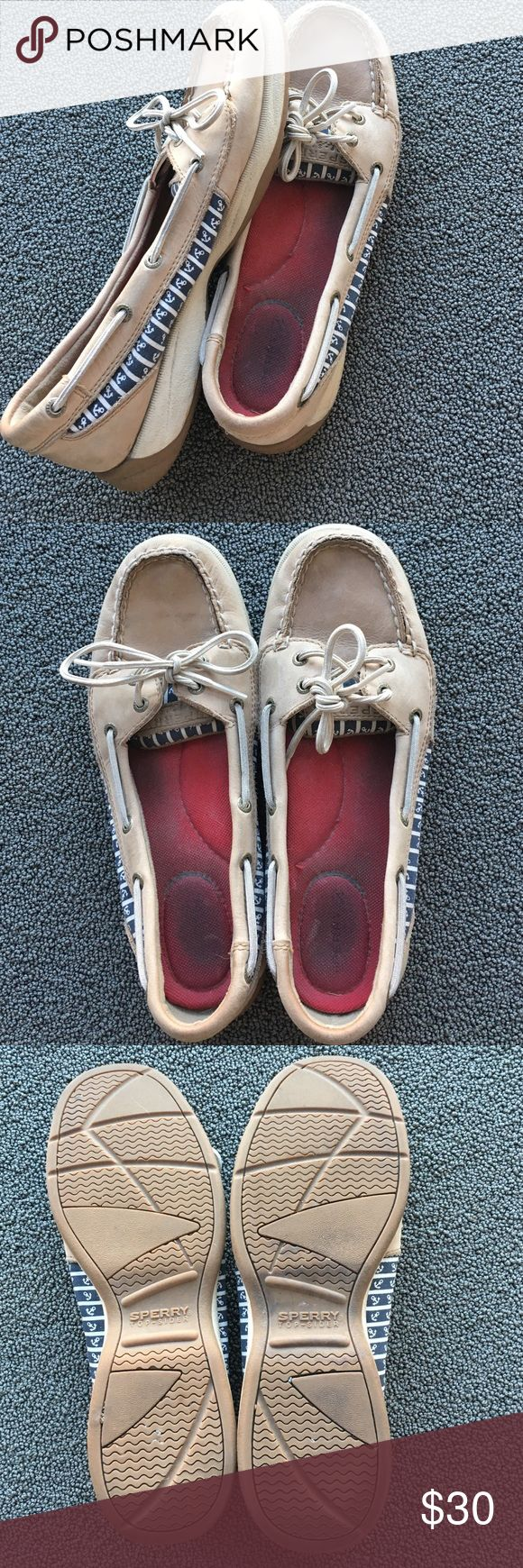 Nautical top sided sperrys Navy and white anchor Sperrys, gently used. They could be cleaned up a bit, and the insoles can be replaced, but otherwise good condition. Sperry Top-Sider Shoes Flats & Loafers