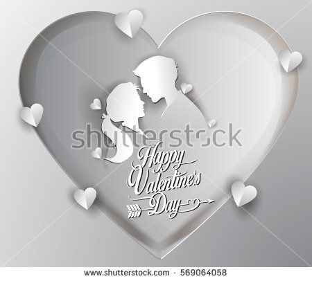 Happy valentines day vector greetings card lettering design with paper cut shape, couple mate in love and heart. Vector illustration.