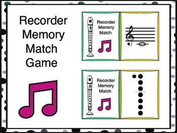Memory/Concentration Music Matching Game for Recorders!