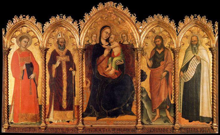 Andrea_di_Bonaiuto_-_Madonna_and_Child_with_Saints_-_WGA00310.jpg  Андреа ди Bonaiuto. Мадонна с младенцем и святыми Леонардом, Николаем, Иоанном Крестителем и Илией. 1360-1362 Санта-Мария-дель Кармине, Флоренция