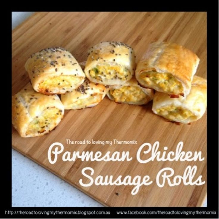I can't take a decent picture of sausage rolls to save myself. I wish this photo showed how delicious these were.I had to take it quickly before little fingers snatched them away.  The parmesan adds a different twist on my original Chicken and Vegetable Sausage Rolls.  This