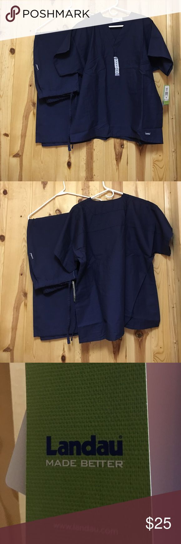 Landau Scrub Set Small Regular Pant Medium Top New Landau Scrub Set Small Regular Pant and Medium Top Top has Chest Pocket and NWT Pant 2 Side Pockets and Elastic Waist with Ties NWOT Color is Navy Landau Other