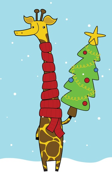 Christmas Giraffe Art Print by Pig & Pumpkin