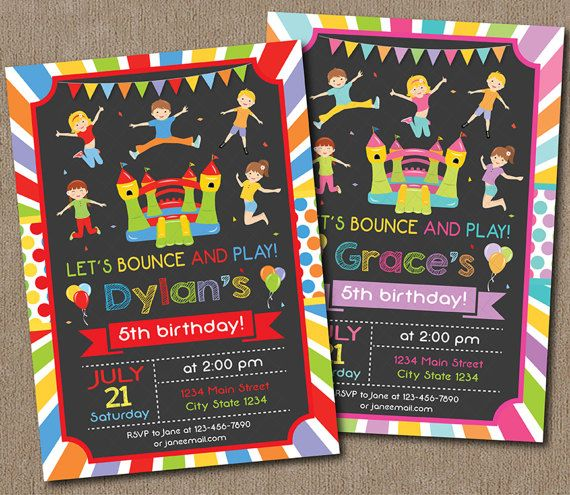 Bounce House Birthday Invitation Boys by PixeleenDesigns on Etsy