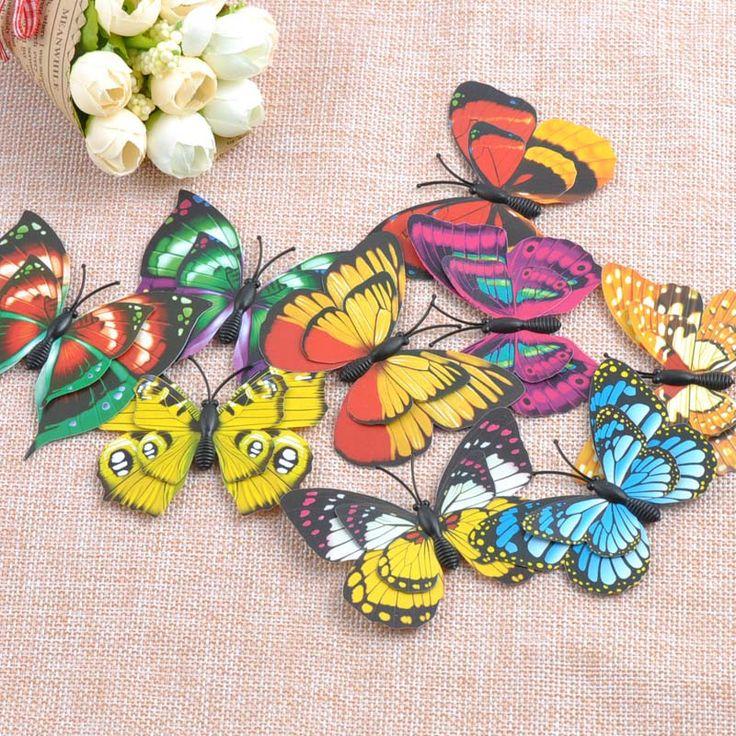 3D Бабочки Стены Наклейки Искусственные Бабочки НЕ Клей Смешанный ПВХ Переводные Картинки Home Decor Room Украшения 70 х 57 мм 30 шт. CP0676