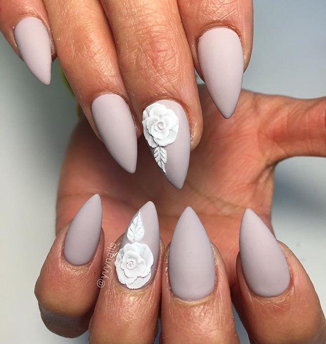 Short stiletto nails::I love the length, shape, and matte ...