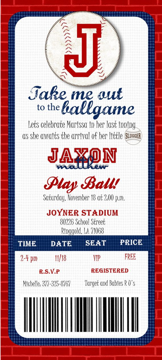 Custom Printed Baseball Ticket Shower or by Joyinvitations on Etsy, $70.00