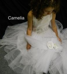 CAMELIA L A7002X White Beaded Satin + Tulle Communion Dress