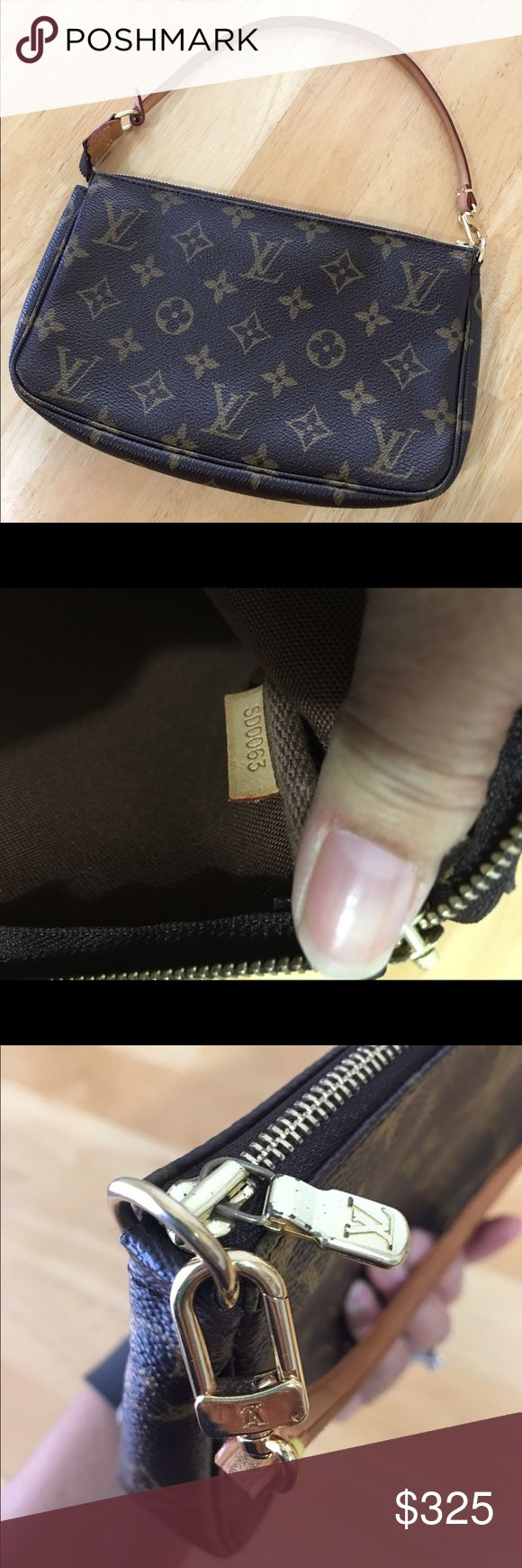 Authentic Louis Vuitton pochette Excellent condition Louis Vuitton pochette with minor wear. Interior and exterior are clean. There is a water mark on the tab, tarnishing on the zipper but glides smoothly. Also a small discoloration on the back side of the strap, see picture #7. It can be worn as a shoulder bag or a wristlet. I bought this bag at South Coast mall in California back in 2003 and was hardly used. I don't have the dust bag or box anymore. Louis Vuitton Bags Clutches & Wristlets