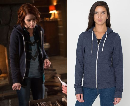 "Charlie Bradbury (Felicia Day) wears an American Apparel Unisex Tri-Blend Hoodie in the color Tri-Navy in Supernatural Season 10 Episode 18 ""Book of the Damned.""   *Note* Charlie's is worn without the drawstrings. #charliebradbury #americanapparel #supernatural #cw"