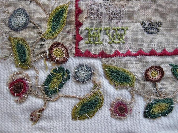 Repair to antique sampler textiles pinterest