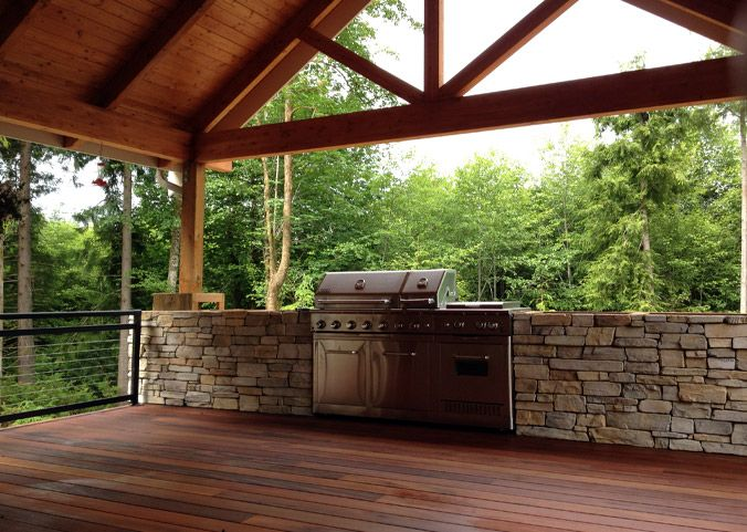 Gable off of back porch and masonry rock with built in ...