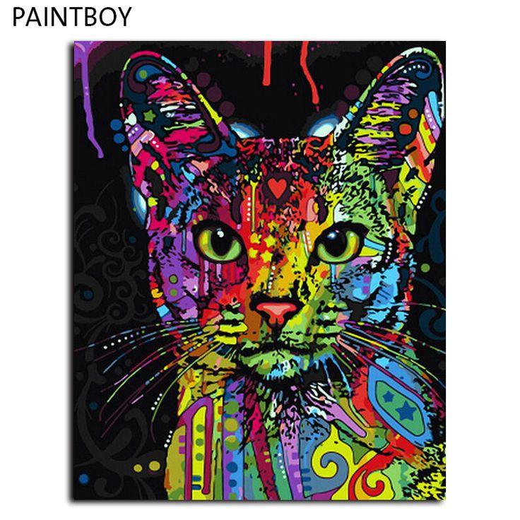 Gambar lukisan by numbers frameless abstrak hewan kucing diy minyak lukisan pada kanvas dekorasi rumah untuk ruang tamu 40*50 cm