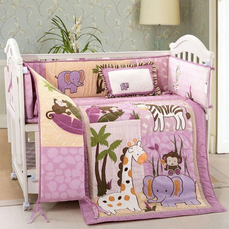 New Pink Beige Safari Animals Monkey Giraffe Baby Crib