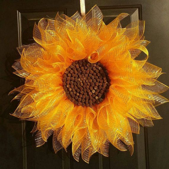 Yellow Sunflower Wreath, Deco Mesh Sunflower Wreath,  Summer Wreath, Front Door Wreath,  Everyday Wreath,  Home Decor, Flower Wreath