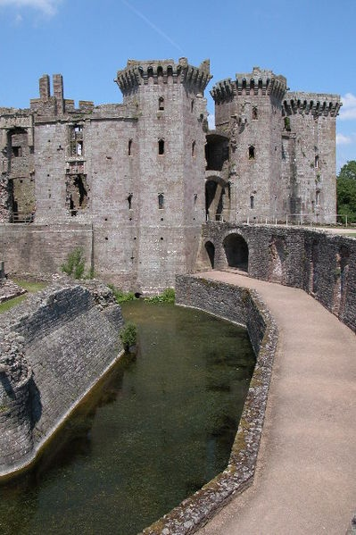 Raglan Castle. This impressive castle ruin was a stronghold for the Royalists during the English Civil War and as a consequence was slighted (made undefendable).
