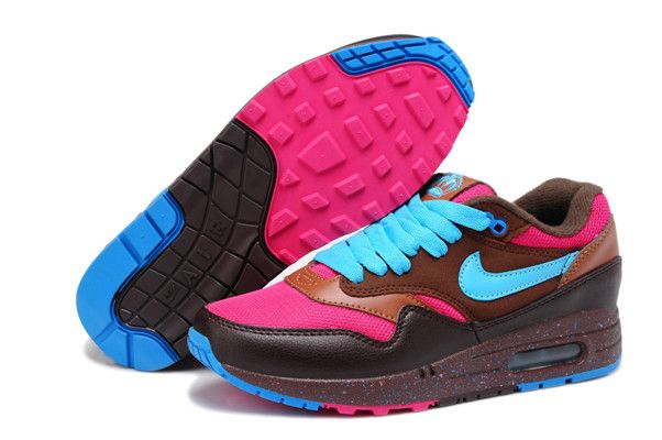 Nike Air Max 1 Brown Pink Blue Women\u0026#39;s Sneakers . nice womens sport shoes cheap sale. | sneaker for women | Pinterest | Air Max 1, Nike Air Max and Nike Air