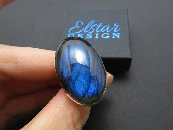 Labradorit Ring dunkel LA1 Gr7 blau Edelstein Silber Geschenk