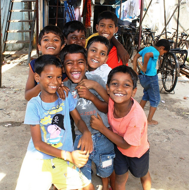 #Photography ~ Happy little boys.  Photo taken at the public laundry in Mumbai, India