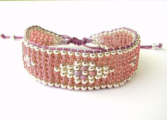 Bead+Loom+Bracelet++Rose+and+Silver+Beaded+Bracelet+от+MaisJewelry,+$40.00