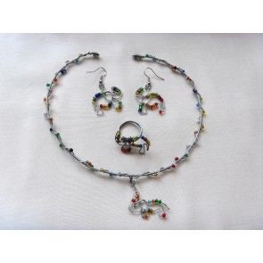 Wire wrapped elephant necklace set w colored beads