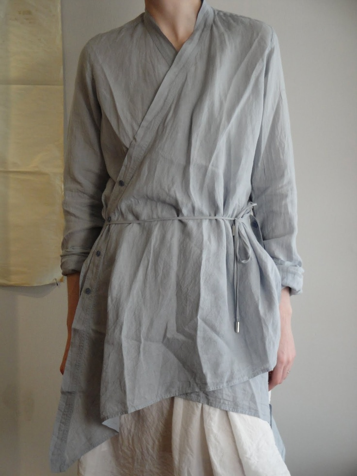 marc le bihan. Tie front tunic made with a peplum bottom