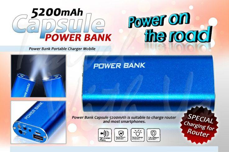 PowerBank Capsule 5.2000mAh, Only Rp 213.000,- *not include shipping cost  - Design yang praktis, mudah dibawa dengan pilihan warna yang menarik. - Output USB 5V/1,0A untuk pengisian ulang berbagai device: handphone/smartphone, BB, iPhone, iPod, camer pocket, PSP dll. - Input charging berupa micro USB - 4 lampu LED sebagai lampu indikator kapasitas battery dan saat digunakan - 1 lampu LED yang dapat digunakan sebagai lampu darurat ( tekan 2x tombol power (on/off) - 2in1 cable USB