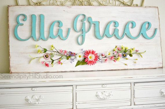 XL SIZE distressed custom name sign with floral spray, vintage style shabby chic kids art
