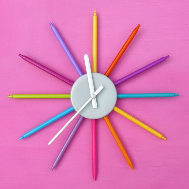 Use colorful markers to make this clock.