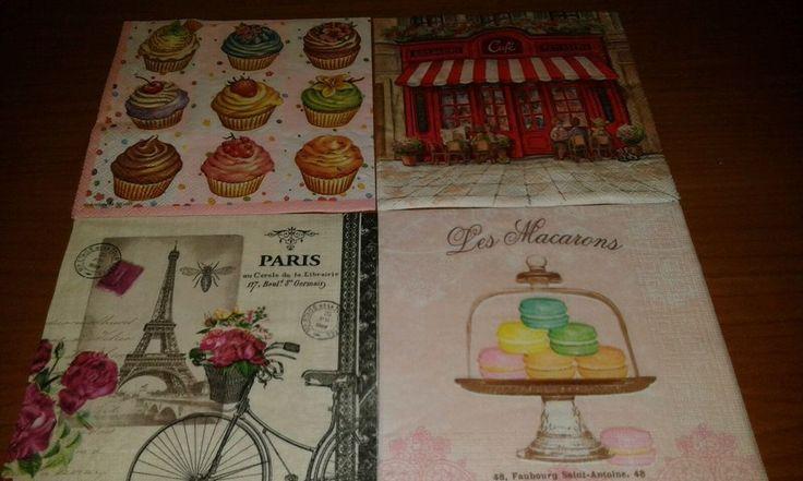 4 tovaglioli per decoupage pittura collezione soggetto Torre Eiffel Paris dolci