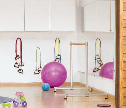 How to Build a Home Gym: Do It With Mirrors. They transform a dark, claustrophobic space into an airy studio by reflecting light and expanding the view. #SelfMagazine
